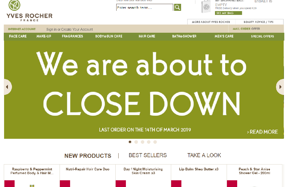 Yves Rocher closes English online site blaming  'economic context'